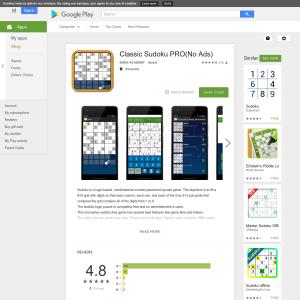 Google Play - Free Classic Sudoku PRO(No Ads) - Freestuff com au