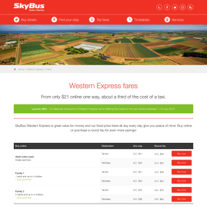 Free travel at SkyBus Western Express
